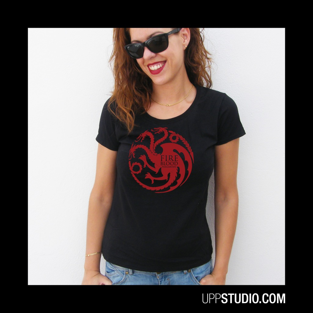 Camiseta Casa Targaryen Fire And Blood T-Shirt Tee Game Of Thrones Juego De Tronos | UppStudio